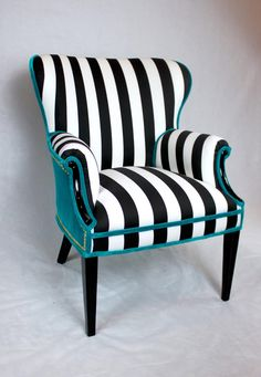 Sold- Black and White striped Vintage Round Wing Back Chair with turquoise Velvet gold nailhead trim Black And White Furniture, Black Painted Furniture, Black And White Chair, Funky Furniture, White Chairs, Black White, Furniture Design, Furniture Dolly, Painted Chairs