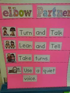 Elbow Partners anchor chart Turn and Talk Lean and Tell Kindergarten Anchor Charts, Reading Anchor Charts, Kindergarten Literacy, Classroom Activities, Classroom Ideas, Preschool, Classroom Procedures, Classroom Organization, Classroom Management