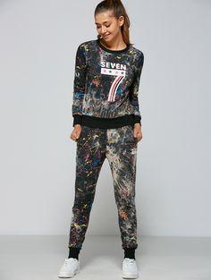 Active Stars Seven Pattern Sweatshirt+Pants. Black PantsGym Clothes WomenCheap  ClothesBuy ... 7d8688e5ce034