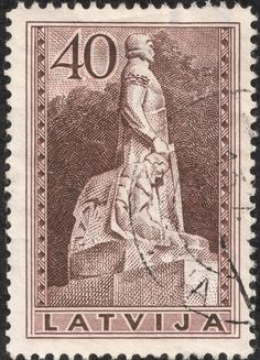 "Scan_Latvia 1937 Scott 199 40s brown  ""Tomb of Col. Kalpaks"" In 1937, a seven stamp pictorial issue featuring ""monuments"" was produced."