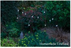 Homemade Fireflies -  This is an easy project.  You can order in bulk online (see the Curbly instructions) and all you need are sheperd garden hook, craft magnets, lithium coin batteries and white 10MM LED bulbs (get 50 for about 20.00)...think how beautiful your yard will be at night!!!
