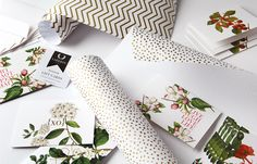 """""""I was inspired to create a range of bespoke stationery that has been designed as an expression of our natural environment. The end result is a crafted range reflecting a botanicals theme in conjunction with typography. The herringbone motif and the gold dot sit side by side in harmony."""" - Dagmar Palmer, creator and founder of Liberty Bespoke"""