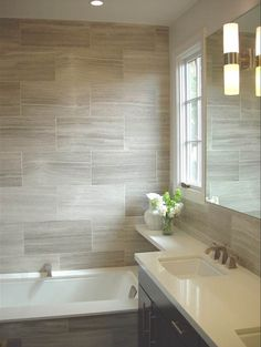 wood tile on wall and color combo (white washed wood tile, espresso vanity w/ white countertops)