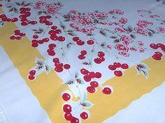 Cheerful Cherries Vintage Tablecloth.