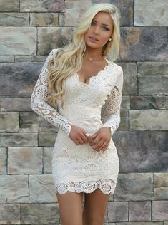 Sheath V-Neck Long Sleeves Open Back Short White Lace Homecoming Dress  Beautiful Party Dresses 2e96e8e9d