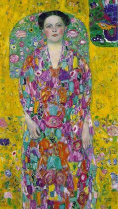 Gustav Klimt: Ritratto di Eugenia Primavesi (1913-14) olio su tela 140x84. Stile: Art Nouveau. Periodo: Opere mature