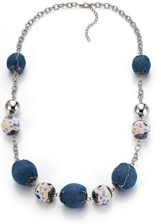 Denim bead necklace - with timber beads & tan leather strap would look good too