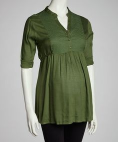 Take a look at this Olive Embroidered Front Maternity Tunic - Women by Oh! Mamma on #zulily today! $15 !!