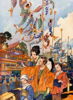 The Feast of the Flags in Japan - The Wonderland of Knowledge (Odhams, c 1930).