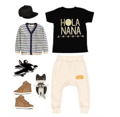 """Spring'15 Collection launches tomorrow at 3pm pst   New print """"Hola Nana"""" tee outfit inspiration. Sizes will range from 3M-8yrs. Shop www.stellar-seven.com #stellarseven #holanana #ig_kids #fashionkids #ootd #babyootd #kidsootd #kids"""
