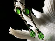 Lime Green Frost Vintage German Crystal Drop Antiqued Bronze Filigree Earrings Steampunk Jewelry Antique Vintage Victorian Bridal Style