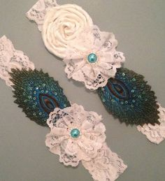 Peacock Wedding Garter Set in White Floral by HavingFunWithCrafts, $24.99