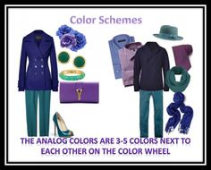 How to wear color and look stylish-  definitions of color types: monochrome, analogous and complimentary.
