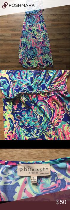 BNWT Philosophy Dress Beautiful dress! Bright colors, similar to Lilly Pulitzer patterns. **Bra friendly dress!!** adorable braiding detail below waist--very slimming! Brand new with tags! Philosophy Dresses Maxi