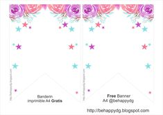 Be happy: Printable Birthday Banner Unicorn Printables, Party Printables, Free Printables, Printable Birthday Banner, Unicorn Birthday Invitations, Flora, Arts And Crafts, Baby Shower, Infinity