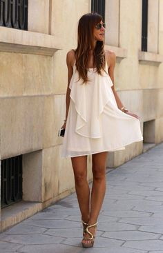 White Chain Spaghetti Strap Back Cross Asymmetric Hem Dress: Casual Dresses, Short Dresses, Fashion Dresses, Summer Dresses, Chiffon Dresses, Mini Dresses, Beach Dresses, Dresses 2016, Chiffon Maxi