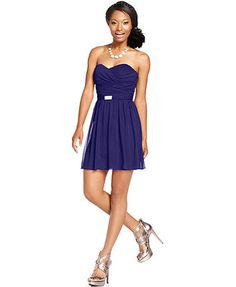 Teeze Me Juniors' Strapless Sweetheart Dress Macys: $34.99