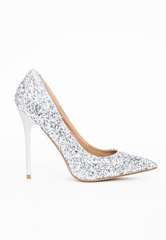 45bf602382d7 Selena Pointed Toe Court Shoes Silver Glitter - Shoes -High Heels -  Missguided Silver Glitter