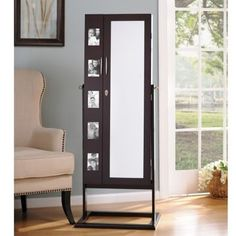 Black Cheval LED Jewelry Armoire Mirror Armoires