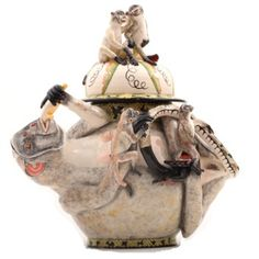 Monkey Tureen - Ardmore Ceramics  Sculptor(s): Sabelo Khoza, Sfiso Mvelase Painter(s): Senzo Duma Dimensions:33cm height,37cm width,22cm depth, R 18125.00