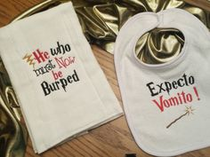 Designs by Sugarbear Boutique Unique Custom Embroidered Designs Baby Burp Cloth and Bib - Ready to SHIP! HARRY POTTER INSPIRED - Machine…