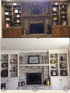 Whitewash fireplace and painted cabinets with Gray and white colors. Totally transformed my family room!