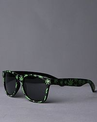 7910ba559cd The Weed Leaf Wayfarer Sunglasses by Hip Hop Accessories features  All-over  printed cannabis leaf design Oval stud embellishments affixed on sides of  frame ...