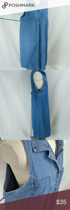 "Vintage 90s Denim Maternity dress Super soft denim dress. Boxy and large arm openings for comfort. Great for summer outdoor concerts on the lawn.  Measurement: shoulder to hem 49"", bottom of armpit of dress to arm pit: 22"" Can be worn after maternity. Vintage Dresses"