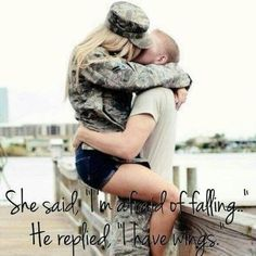 "Cute for a girl in love with an Airman <3 ""I'm afraid of falling. He whispered I have wings"""