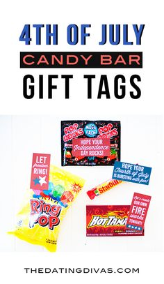 Quick and easy of July gift idea. Free printable candy bar gift tags for your spouse, kids, neighbors, or friends! 4th Of July Celebration, 4th Of July Party, Fourth Of July, Patriotic Party, Candy Bar Gifts, Candy Favors, Teacher Appreciation Gifts, Employee Appreciation, Teacher Gifts