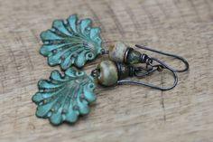 Rustic Boho Tribal 'Shell' earrings n46 artisan