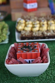 Minecraft party - red licorice for TNT, Ferreero Roche for gold, brownies for dirt/ground #minecraft