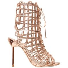 SOPHIA WEBSTER 100mm Delphine Gold Leather Cage Sandals - Gold ($425) ❤ liked on Polyvore featuring shoes, sandals, heels, gold, leather sandals, leather heeled sandals, high heel sandals, gold lace up sandals and high heel shoes