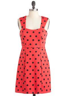 Poppy Chart Hit Dress in Dots - Red, Black, Polka Dots, Party, Sheath / Shift, Sleeveless, Spring, Short, Vintage Inspired