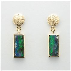 Micky Roof original Australian Opal earrings in polished and hammered 14K Yellow Gold
