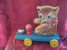 Vintage 1950 KITTY BELL #499 Fisher Price Wood wooden Pull Toy kitten cat *RARE*