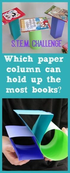 Stem Activities for Kids:  Which paper column can hold up the most books?