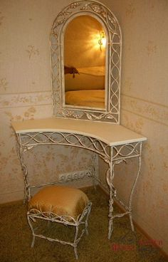 Bedroom Vanity Set, Vanity Table Set, Mirror Candle Wall Sconce, Mirror With Shelf, Princess Bed Frame, Art Deco Door, Wrought Iron Decor, Iron Furniture, Sofa Design