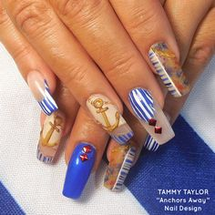 """Tammy Taylor """"Anchors Away!"""" Nail Design by Gisela Marti, Tammy Taylor's Creative Director! Find out how to do these incredible nails by going on the Tammy Taylor Nails Pinterest Page and looking under Nail Tutorials!"""