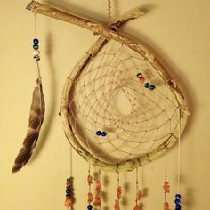 Natural hoop dreamcatcher with chimes