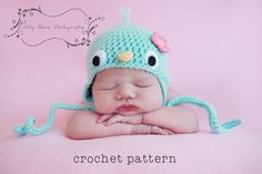 PDF Crochet Pattern Baby Bluebird Hat w Flower by sockmonkeykook