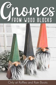 Learn how to make Swedish Christmas Gnomes in a myriad of ways. You can DIY a tomte, nisse, or Scandinavian gnome is no time at all! Wood Block Crafts, Wood Blocks, Wooden Crafts, Easy Wood Projects, Vinyl Projects, Wooden Art, Glass Blocks, Craft Projects, Craft Ideas