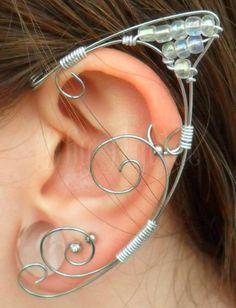 Dhy Ngetal - elf ear,orelha de elfo,elfo,fada,magic,bruxa,senhor dos anéis,hobbit, casamento,celta,viking,antiguidade,arame,ear cuff,elven,faerie,wicca,strega fashion,game of thrones, vikings,brumas de avalon