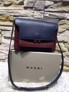 marni trunk leather shoulder bag bicolor burgundy navy