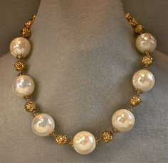 Items similar to Vintage Pearl Bead Necklace Japanese White Lucite , Gold Nuggets on Etsy Pearl Necklace Designs, Gold Pearl Necklace, Jewelry Design Earrings, Gold Jewellery Design, Bead Jewellery, India Jewelry, Pearl Beads, Necklace Set, Beaded Necklace