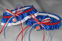 Chicago Cubs Inspired Wedding Garter Set in by sugarplumgarters, $56.99.  Going to need this!!