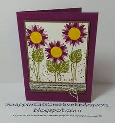 Going for a purple cone flower look. Added thoughtful branches leaves and stems stamps and some gorgeous grunge paint splotches too