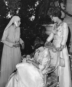 thegreekroyals:  Princess Alice, mother of Prince Philip, in her nun's habit, with Queen Anne-Marie and Queen Frederika at Princess Alexia's christening, 1965