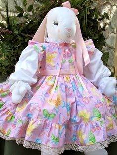 """28"""" bunny in sparkly butterfly dress"""