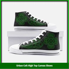 Celtic theme high top canvas shoes designed by our own design team, like all our products these are custom-made-to-order and handcrafted to the highest quality standards.  Please allow 7-9 days to receive a tracking number while your order is hand-crafted, packaged and shipped from our facility. Estimated shipping time is 2 weeks.   Free Shipping ✔️  Satisfaction Guaranteed ✔️  Not Sold in shops ✔️  Coupon for 15% off next purchase ✔️ Celtic Designs, Tracking Number, Designer Shoes, High Tops, High Top Sneakers, Custom Design, Coupon, Patches, Converse